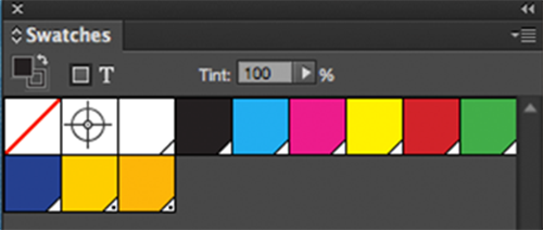 Two bottom yellow swatches are Pantone 116 Coated on Left and 116 Uncoated on Right – properly appear different on screen and on electronic proofs.