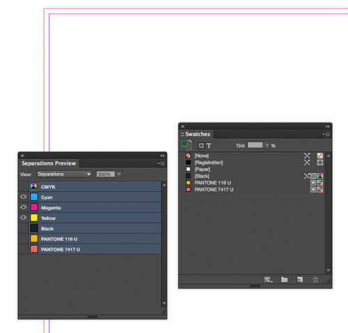 The ink swatches palette is cleaned up for final output or Print-Ready PDF. When the -- USED inks are turned off in Separations Preview, everything should disappear on the layout.